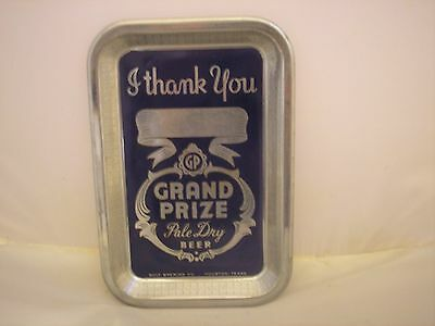 Vintage Grand Prize Beer Metal Tip Tray, Gulf Brewing Co., Houston, Tx