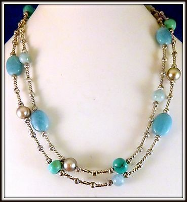 "36"" Carolyn Pollack NECKLACE Sterling Silver Turquoise beaded Southwest"