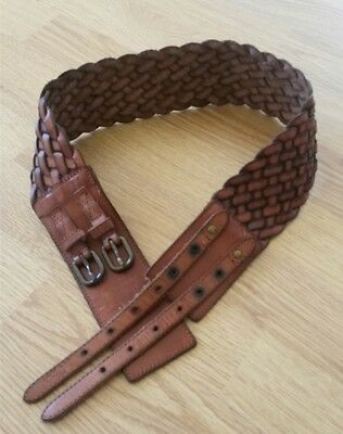 fat face leather braided wide belt S