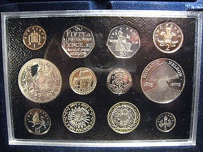 2005 Great Britain 12 Coin Proof Set w/box,COA & Nelson Cr** FREE US SHIPPING **