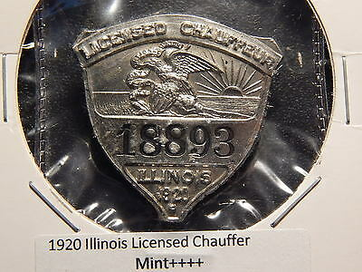 1920 Illinois Licensed Chauffeur Mint 18893 Medal Pinback!  Pp133Uxxx