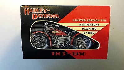 """Vintage 1997 Set of """"Harley Davidson"""" Playing Cards In Limited Edition Tin NEW"""