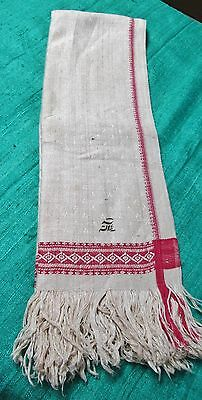 Antique Linen Damask Fringed Show Towel Turkey Red Bands Stars Geometrics Unused