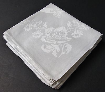 4 Antique Linen Damask Lapkins Ornate Peony Florals Silky Fabric Hand Hemmed