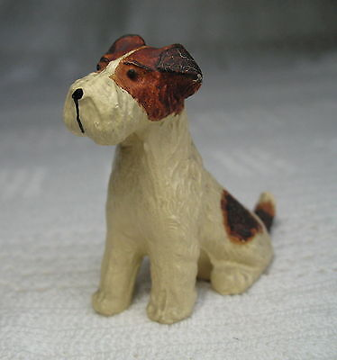 "Vintage Wire-Haired FOX TERRIER ~ 2"" Tall x 2-1/8"" Long ~ Hand Painted Cast Iron"