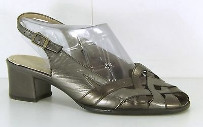 GABOR Dark Silver Pewter REAL LEATHER Ladies Slingback Sandals size 3.5 EUR 36.5