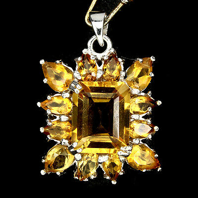Deluxe Natural Octagon Cut 11x9mm Yellow Citrine 925 Sterling Silver Pendant
