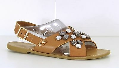 F&F Brown Tan REAL LEATHER with Embellishment Ladies Sandals size 5 EUR 38