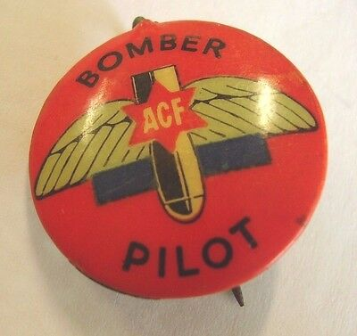 WW2 Australia Fighting Forces Comforts Fund Button Badge Bomber Pilot