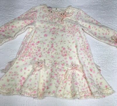 3T Months Baby Biscotti Cream Pink Flowers lace Gorgeous Dress Velour