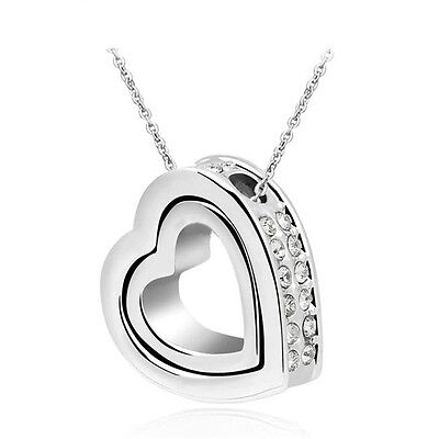 NEW Women Double Heart White Crystal Silver Charm Pendant Chain Necklace YB3S1