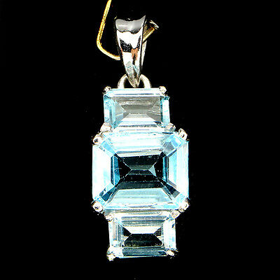 Deluxe Natural Octagon Cut 10x8mm Sky Blue Topaz 925 Sterling Silver Pendant