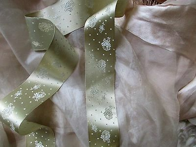Exquisite Antique French Victorian Silk Damask Rose Wedding Trousseau Ribon Trim