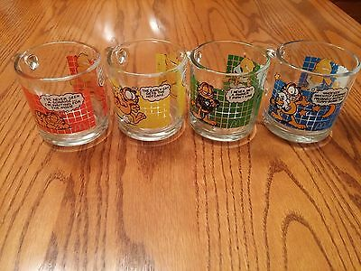 1978 McDonald's GARFIELD GRID Collectible Glass Mugs Complete Set Of 4