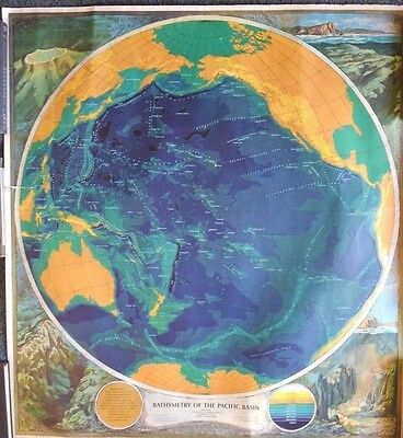 """1965 """"Bathymetry of the Pacific Ocean"""" Color Chart/Map 35.5"""" x 38.5"""" - Aviation"""