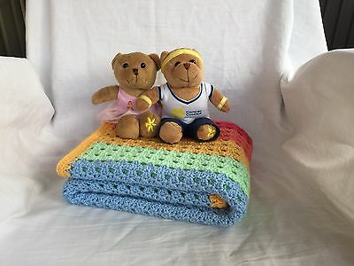 Handmade Crochet Baby Bassinet Car Cot Pram Toddler Blanket *Rainbow Two*