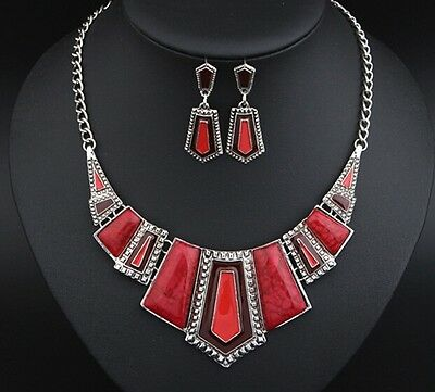 Red Fashion Crystal Pendant Women Chain Statement Bib Necklace Set Earrings