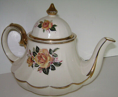 Vintage Teapot Sadler Bell Shaped with Yellow Roses and Gold Trimmed England