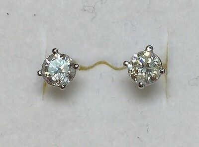 .86 ct natural (REAL) DIAMOND stud earrings SOLID 14k white GOLD