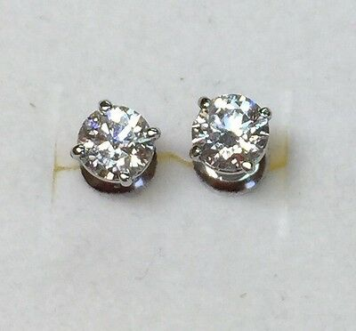 1.49 ct natural (REAL) DIAMOND stud earrings SOLID 14k white GOLD