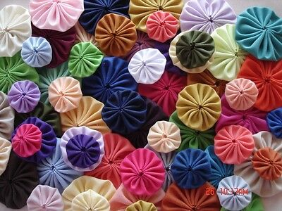 60 Handmade MIXED SIZE SOLID COLOR  Yo Yo Fabric Quilt Applique Pieces CLEAROUT