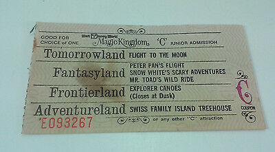 Vintage Walt Disney World Junior Coupon C Main Street Fantasyland Adventureland