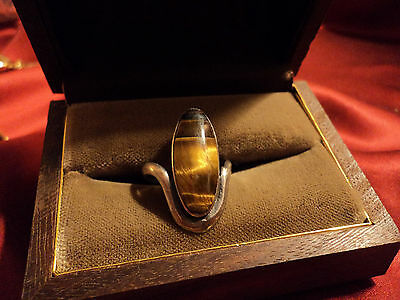 Vintage  Sterling  Yellow tiger eye mid century lady,s ring  Mexico 1950,s