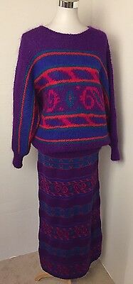 Vintage 80s Sweater Skirt Set Mohair Purple Red Teal Size S/M Catharine Lover