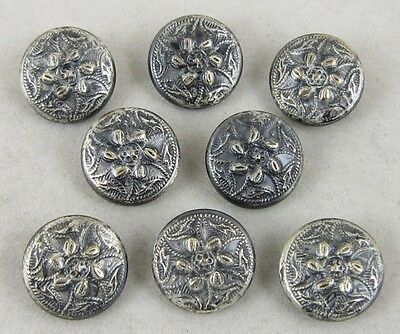 Antique Vintage Buttons Lot ~ Floral Design in Silver Tones ~ 8 Matching