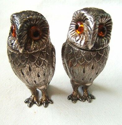 English Richard Comyns Sterling Silver Salt & Pepper Shakers Owls For Tiffany