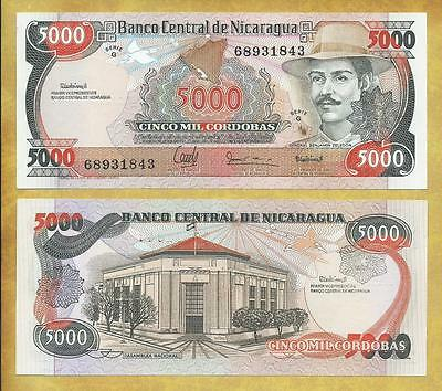Nicaragua 5000 Cordobas P-157 Serie G Unc Currency Banknote ***USA SELLER***