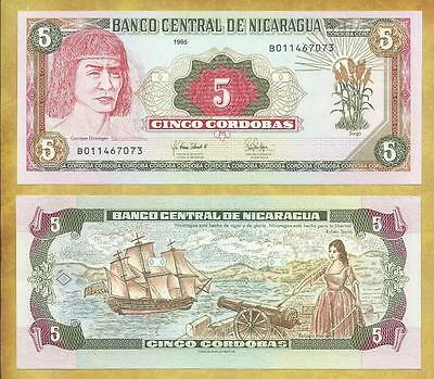 Nicaragua 5 Cordobas 1995 P-180 Prefix B Unc Currency Banknote ***USA SELLER***