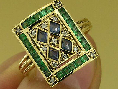 C101 Genuine 9ct SOLID Gold NATURAL Sapphire Emerald & Diamond Ring in your size