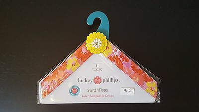 New Lindsay Phillips Isabella SwitchFlops Size Large 9,10,11 Floral Straps