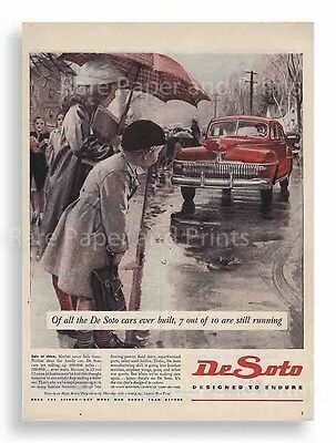 1945 Red Chrysler De Soto Vintage Ad Incredible 1940s Illustration Free Shipping