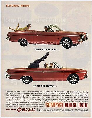 1963 Dodge Dart GT Red Convertible Car Vintage Original Photo Car Ad Free Ship