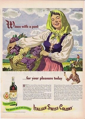 1943 Original Italian Swiss Colony Wine Asti Harvest Maiden Vintage  Print Ad