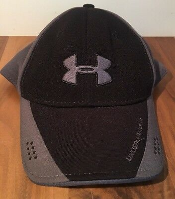 Under Armour Black Gray Ball Cap Hat Fitted 4 Way Stretch Youth One Size