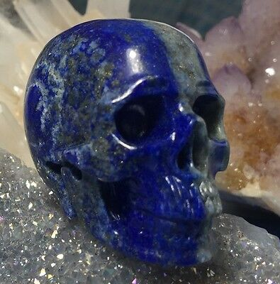 GENUINE Lapis Lazuli Crystal Skull! Realistic Carving Blue With Pyrite Sparkles