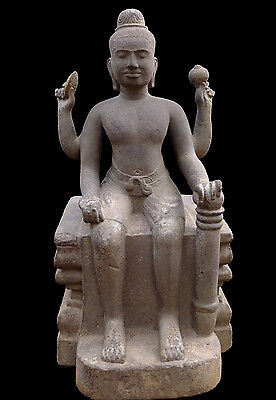 Authentic Khmer Seated Vishnu, Sandstone, Angkor, Baphuon, 10th Century
