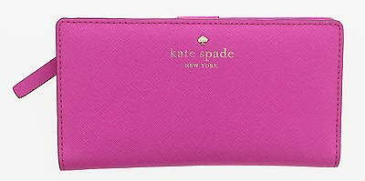 Women's KATE SPADE NEW YORK Hot Pink Leather Stacy Bifold Snap Wallet