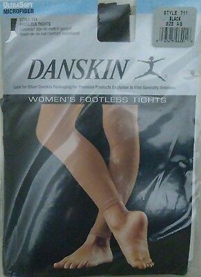 Danskin Footless Tights Black Size A B Fits Small / XS Style 711 Coolmax Dance