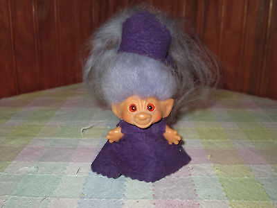 "Vintage Dam Thing Troll 2 1/2"" Tall With Big Purple Hair"