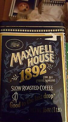 Maxwell House Coffee Metal Tin Collectible Blue 1892 16oz Anniversay