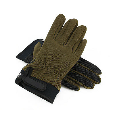 Army Green Tactical Cycling Hunting Weight Lifting Nylon Full Finger Gloves ES