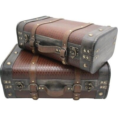 NEW Set of 2 Wooden Vintage Wedding Wishing Well Suitcase Prop Treasure Chest