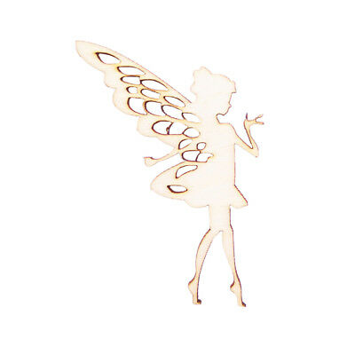 10x Wooden Fairy Cutout Shape Pixie Hanging Gift Tags Craft DIY Decoration