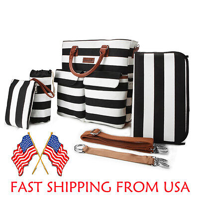 Primebabe 5 In 1 Baby Diaper Bag Mummy Handbag Multifunctional Set Black/White