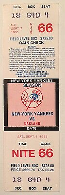 1985 Jose Canseco Hit #1 FULL ticket stub first major league hit Oakland Yankees