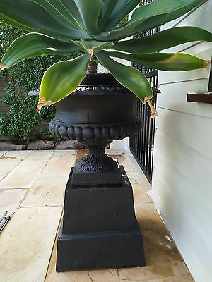 large ornate cast iron antique style planter with stand